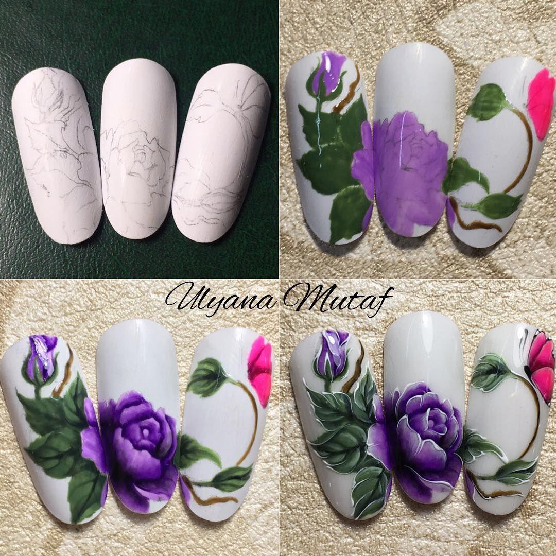 цветы на ногтях пошаговое фото для начинающих красивая цепочка, купила