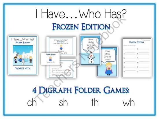 "4 I Have Who Has FROZEN Princess Folder Games - DIGRAPHS - CH SH TH WH from Lessons For Little Learners on TeachersNotebook.com -  (80 pages)  - This file is for a set of 4 ""I Have...Who Has?"" FROZEN Princess Edition Games. Each of the 4 games is on one of the following digraphs: ch sh th wh"