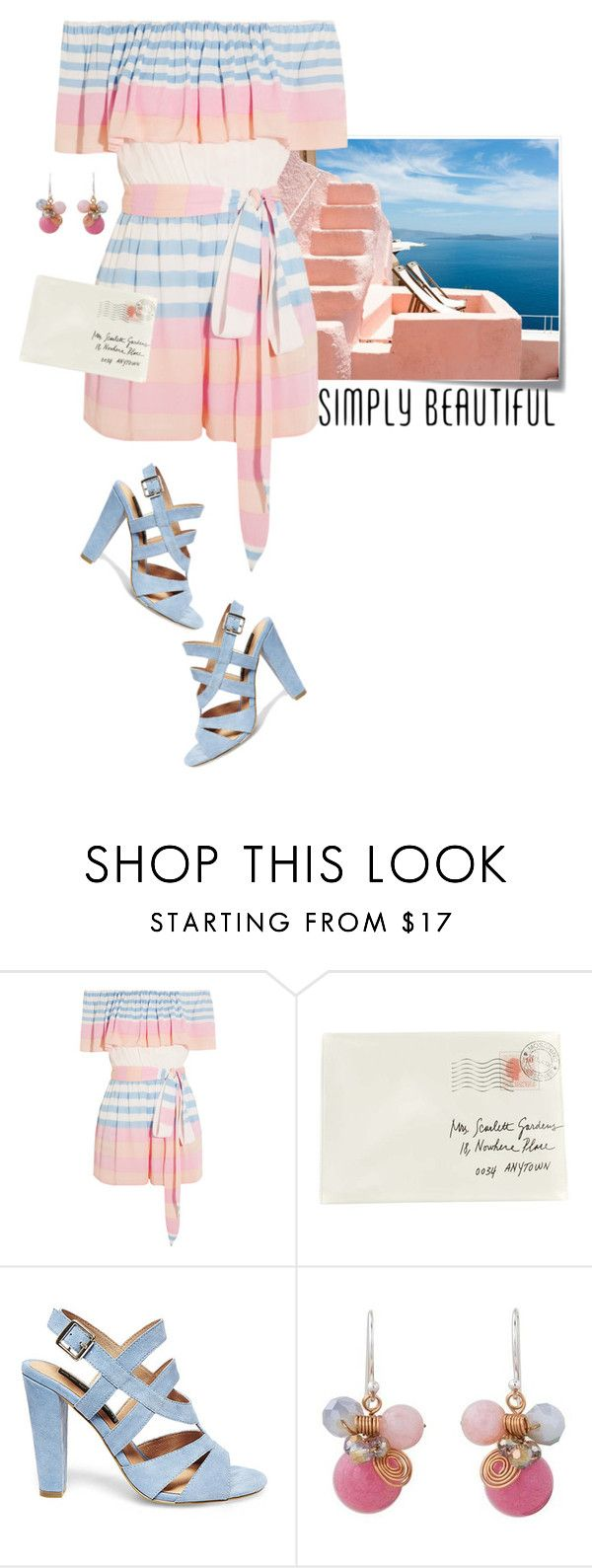 """""""Summer stripes"""" by lence-59 ❤ liked on Polyvore featuring Post-It, Mara Hoffman, Moschino, Steve Madden and NOVICA"""