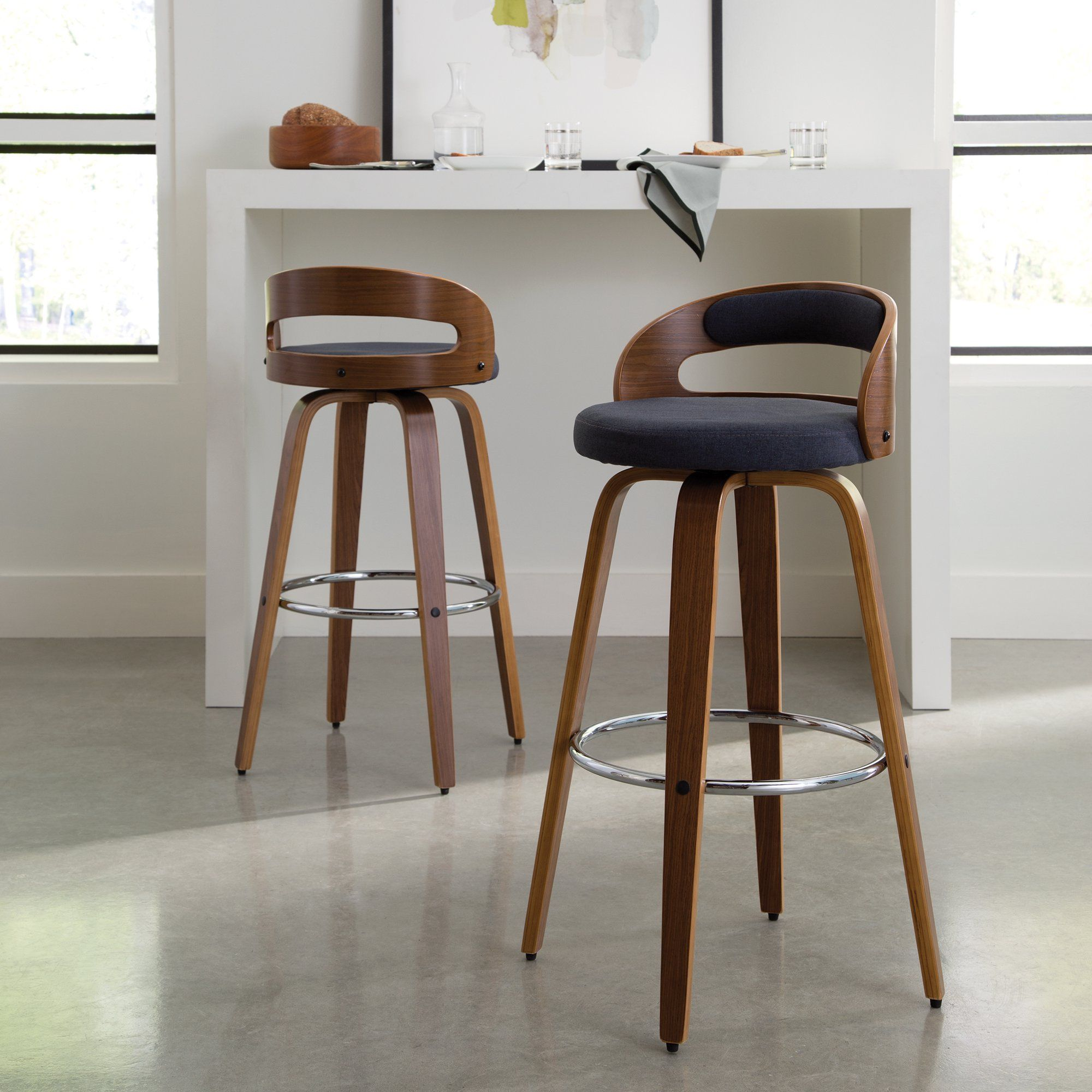 Ofm 161 Collection Mid Century Modern 30 Low Back Bentwood Frame Swivel Seat Stool With Fabric Back And Seat Cushion In Walnut Navy 161 Wf30c Nvy Walmart In 2021 Comfortable Bar Stools Swivel