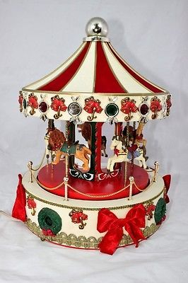 16 animated musical lighted christmas carousel holiday workshop - Christmas Carousel Decoration