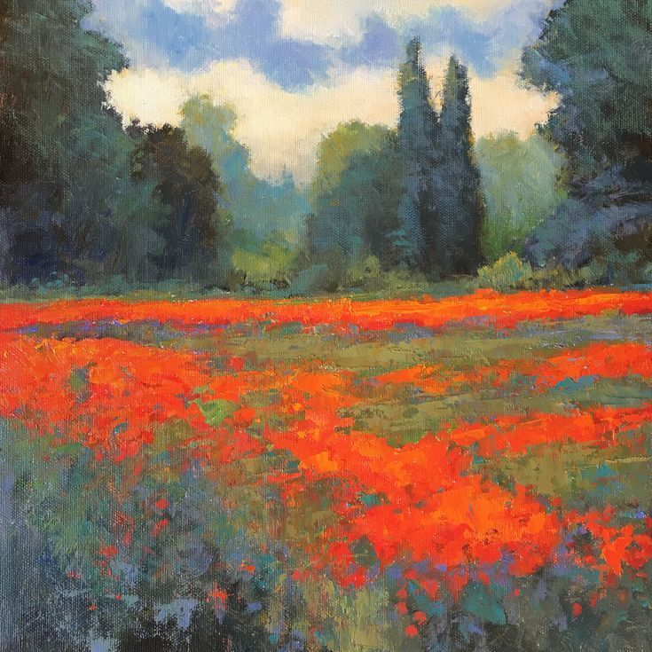 Acrylic painting Forest  Spring Red Poppy Field flower field impressionist landscape is part of Poppy field painting, Impressionist paintings landscape, Impressionist landscape, Abstract art landscape, Painting, Landscape paintings acrylic - Spring Red Poppy Field flower field impressionist landscape is part of Acrylic painting Forest  Acrylic painting