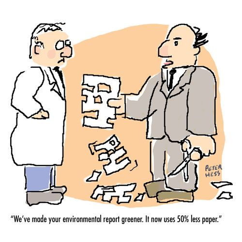 Political Cartoon Greener Environmental Report Environmental - scientific report