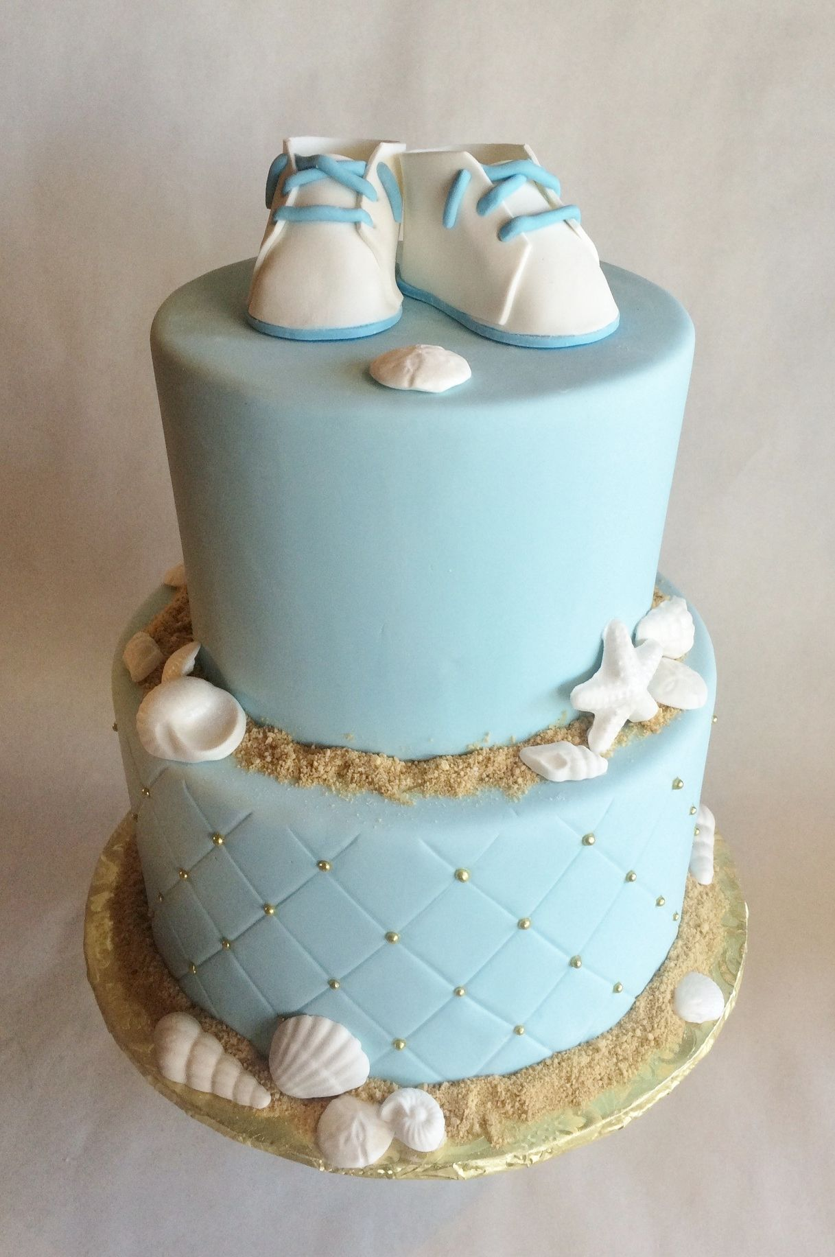 Baby Shower Cake - Ocean - Beach - Baby Shoes
