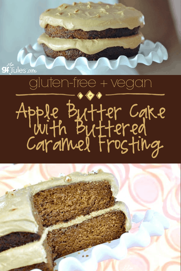 Vegan Apple Butter Cake With Buttered Caramel Frosting Recipe In 2020 With Images Apple Butter Gluten Free Cake Recipes Easy Gluten Free Vanilla
