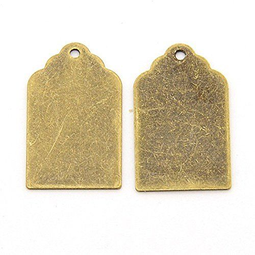 Pandahall 10pcs Antique Bronze Brass Blank Stamping Tag Pendants Metal Alphabet Letter Stamps Tags Charms for Jewelry Necklace Makings 1.18x1.57 inch Oval