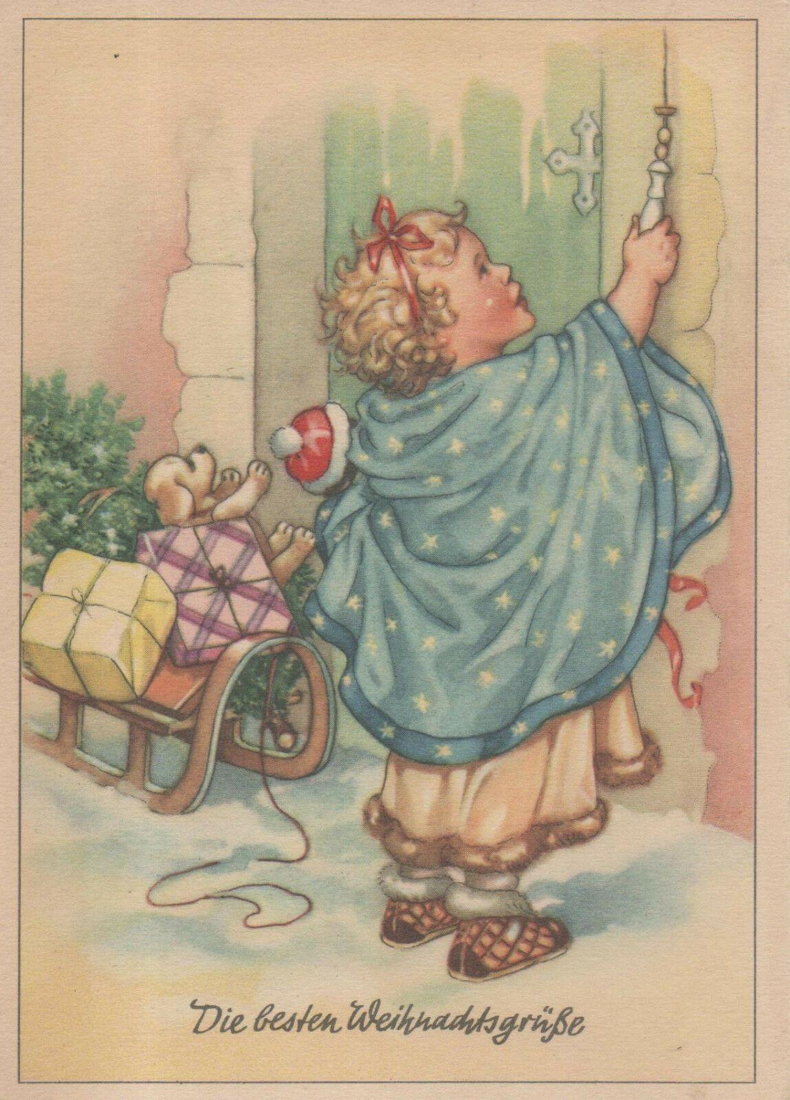 Weihnachtsgrüße Christkind.Weihnachten 1950 Christkind Kind An Tür Schlitten Geschenke Hund