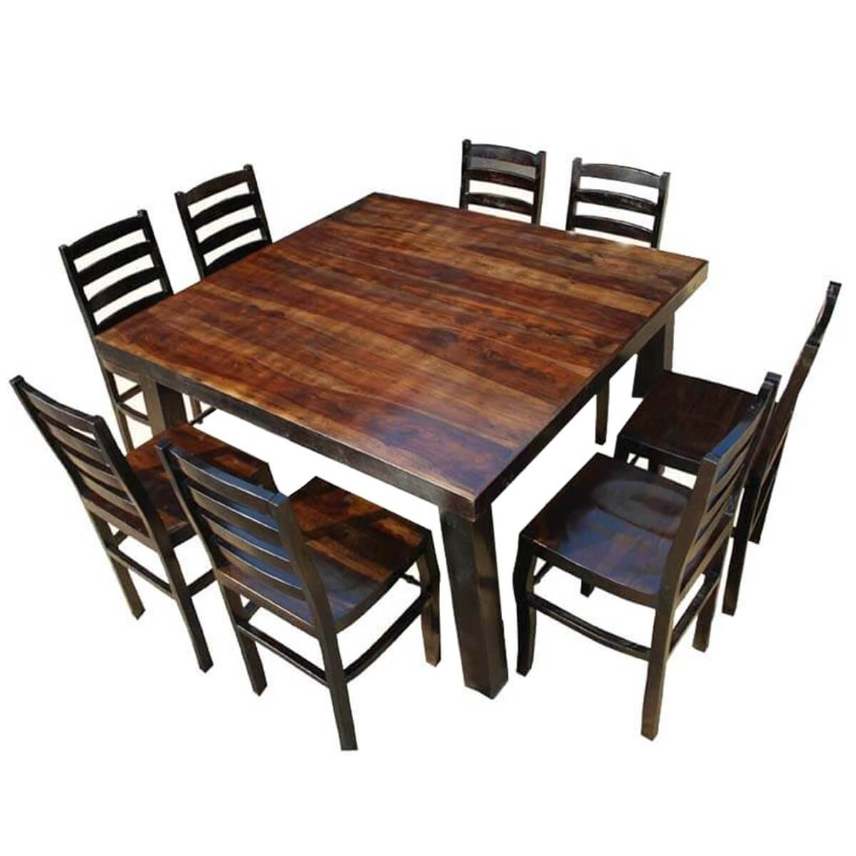 Rustic Counter Height Kansas City Square Dining Set For 8 People Square Kitchen Tables Square Dining Tables Square Dining Room Table