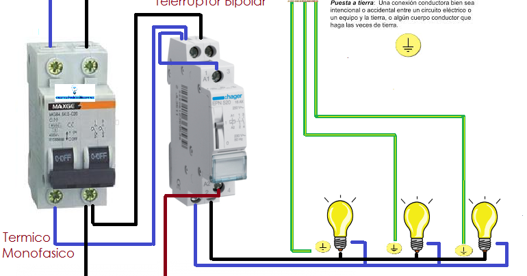 Encendido Y Apagado De Luces Con Telerruptor Esquemas Electricos Instalación Electrica Luces