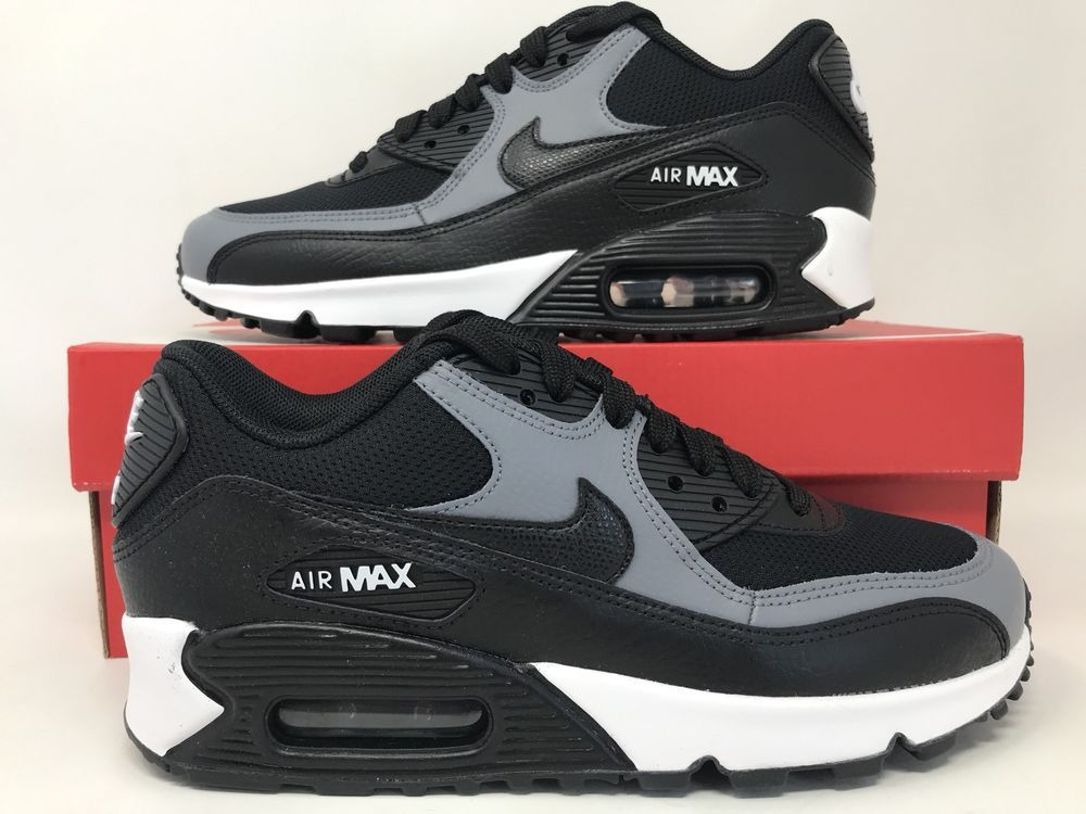watch b71b1 6f419 Women's Nike Air Max 90 Black Leather Cool Grey White Sneakers [325213-037]  Size | eBay