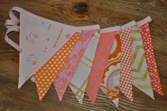 Pink Orange Gold Fabric Pennant Banner Girls Little Giddy