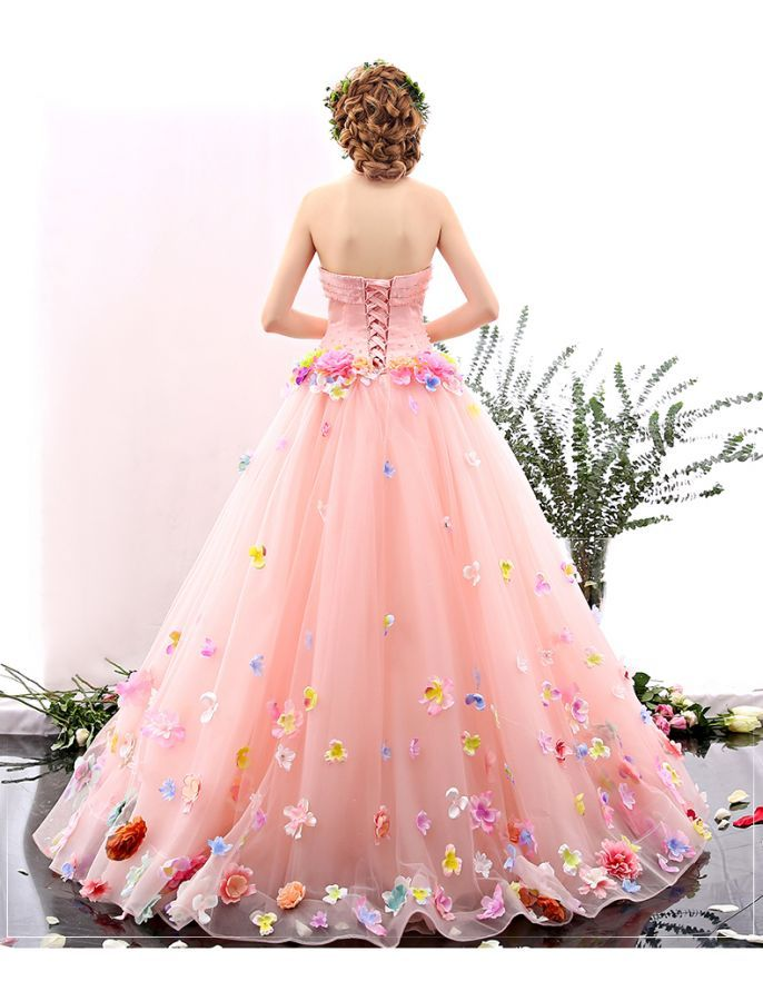 Romantic Strapless Floral Retro Prom Dress | Pink | Pinterest ...