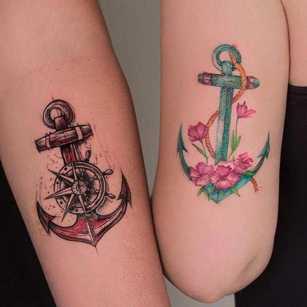 23 Cool Sibling Tattoos You'll Want to Get Right Now #TattooArt #TattooDesign #Tattoo #Sibling #SiblingTattoo #Anchor #beautifultattoos