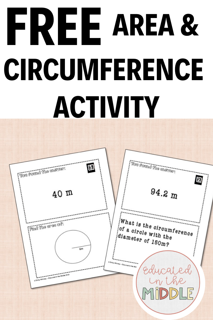Free Area \u0026 Circumference of Circles Scavenger Hunt   Circumference  activities [ 1102 x 735 Pixel ]