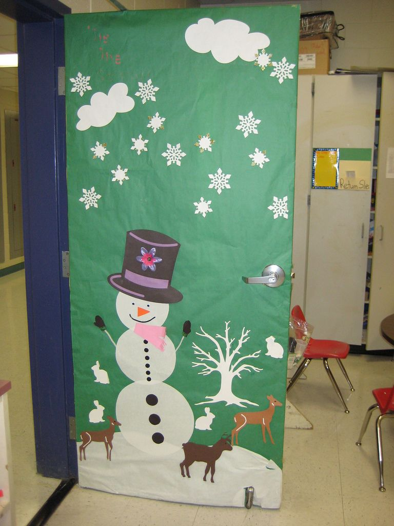 Fun winter classroom door display. The deer cutouts are an example of unique and imaginative visuals created with the VariQuest Cutout Maker