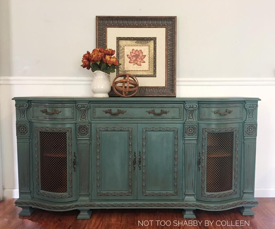 Chalk Painted Buffet Server By Not Too Shabby By Colleen Used A Muted Teal With Dark Blue Painted Furniture Vintage Painted Furniture Shabby Chic Furniture