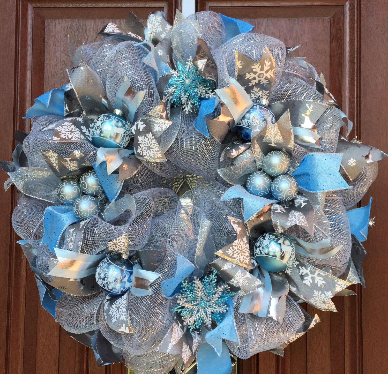 Christmas Wreath Blue Gray Silver Deco Mesh Christmas Wreath Deco Mesh Christmas Wreaths Christmas Mesh Wreaths Christmas Wreaths