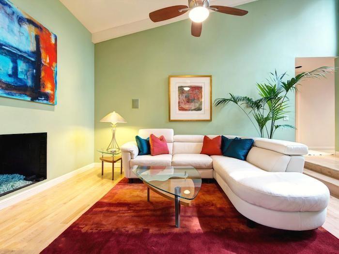 Wohnzimmer Palme ~ Kissen mint ideen dekorationen im wohnzimmer tisch lampe wanddeko