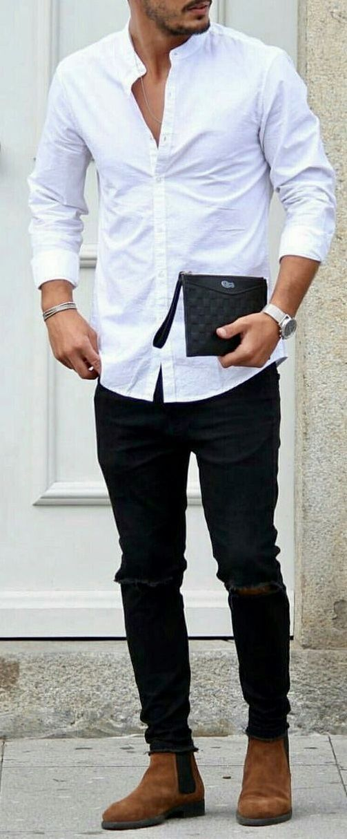 360229f3088 White button down shirt with black ripped jeans and brown boots.  #mensfashion #menswear #menstyle #bespoke #theclassypeople #streetstyle  #streetwear ...