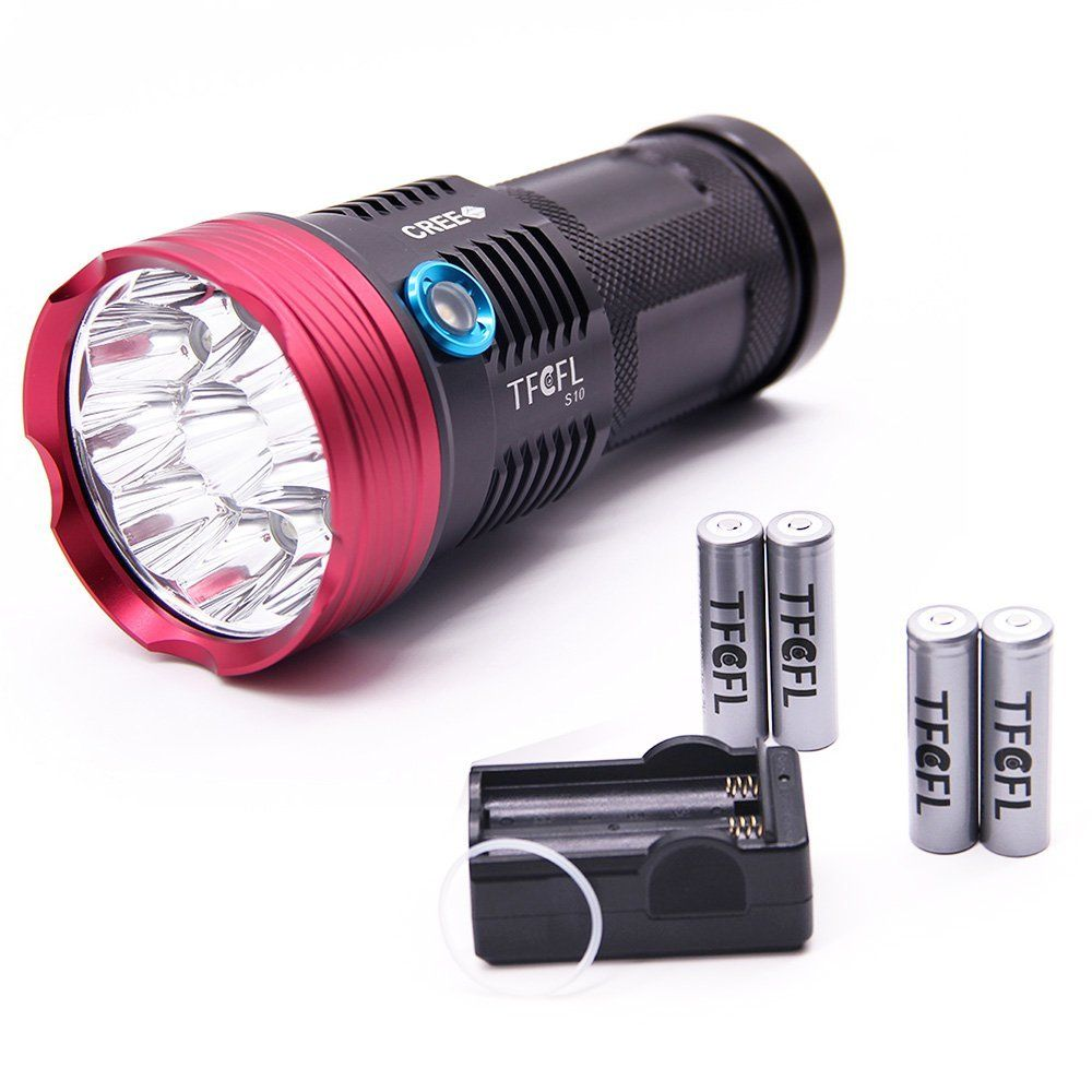 Tfcfl Super Bright Portable Outdoor Water Resistant Torch With Four 18650 Battery Flashlight Rechargeable 3 Flashlight Led Flashlight Camping Lights Lanterns