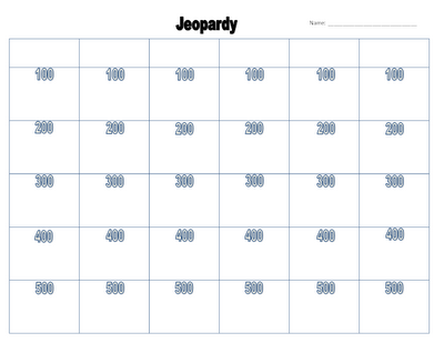 Printable Jeopardy Board  Classroom Magic Classroom Jeopardy