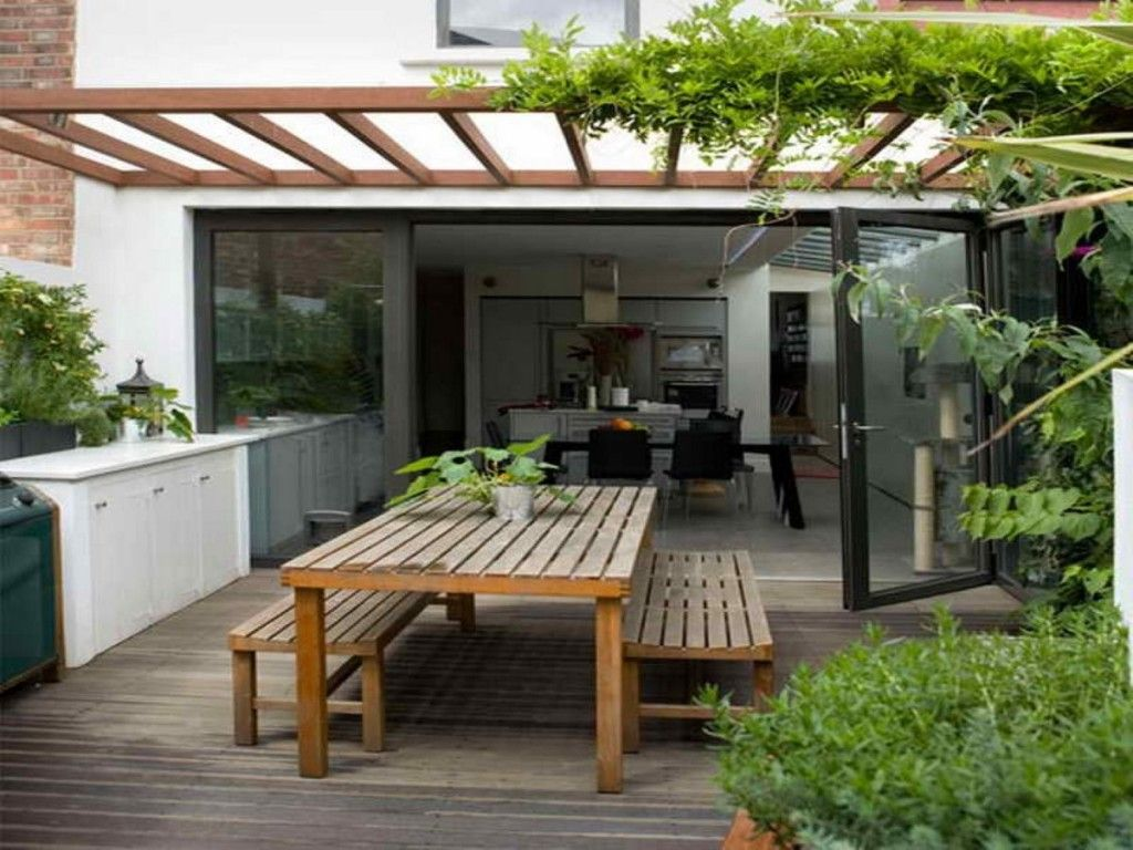 Exterior: Wooden Pergola With Climbing Plant In Modern Small Patio Idea  Plus Cool Wooden Alfresco
