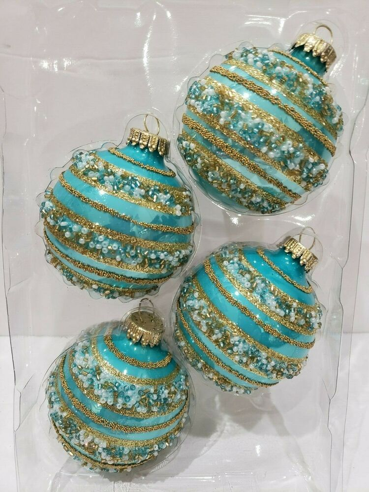 Tommy Bahama Coastal Peacock Blue Glitter Glass Christmas Ornaments New Set  9