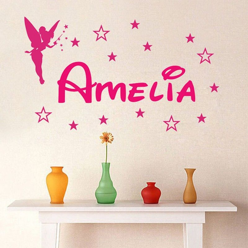 New Custom Personalized Name Magic Girl Tinkerbell Wall Stickers Lettering  Home Decoration Girl Bedroom Vinyl Wall