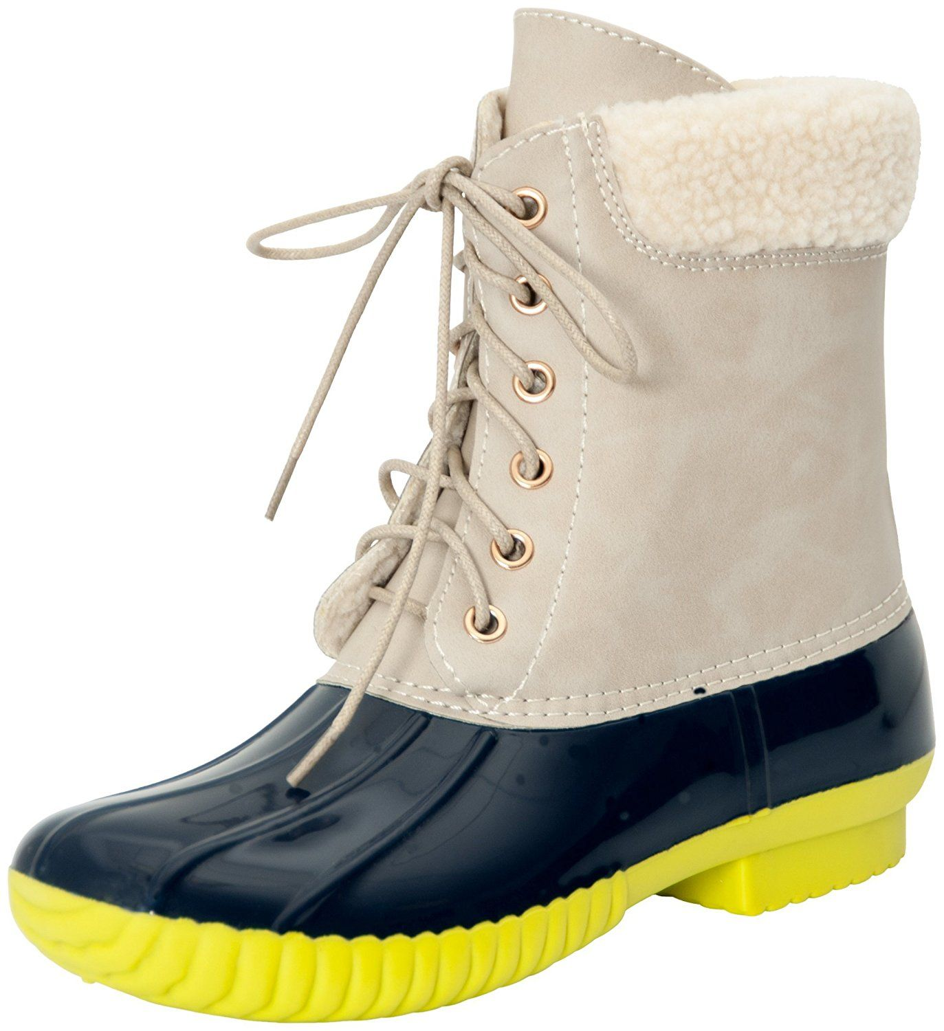 bc16b9fac Adriana Women's DYLAN-60 Faux Fur Lined Two Tone Rain Duck Boots --  Additional details at the pin image, click it : Rain boots