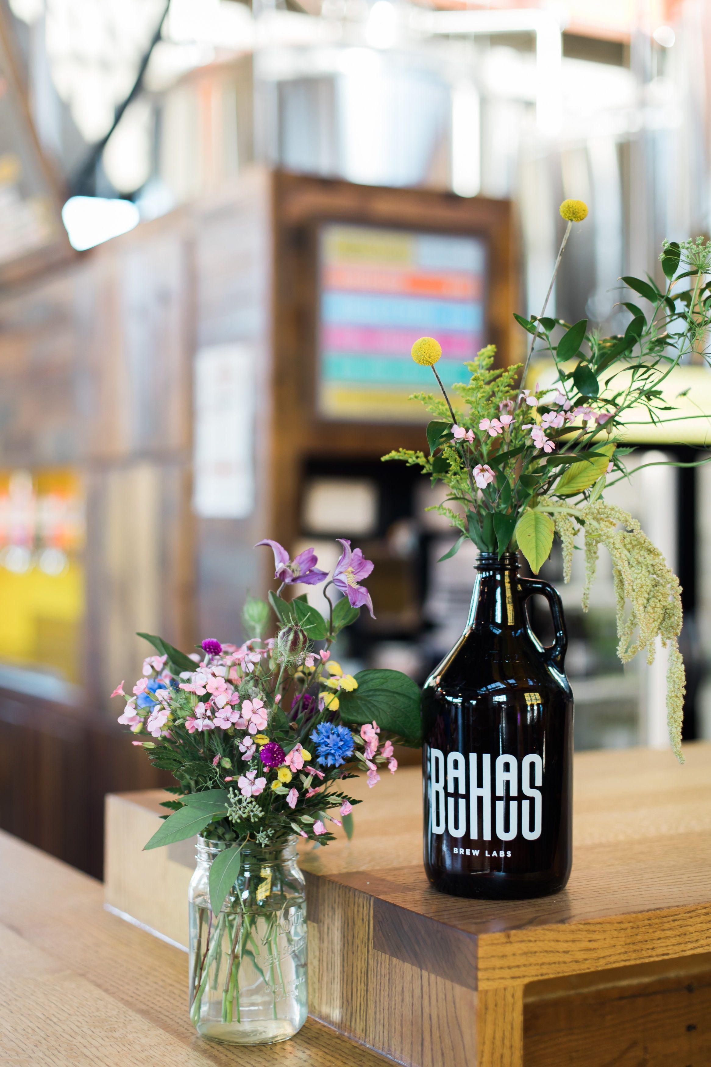 Brewery wedding, growler centerpiece, wildflower