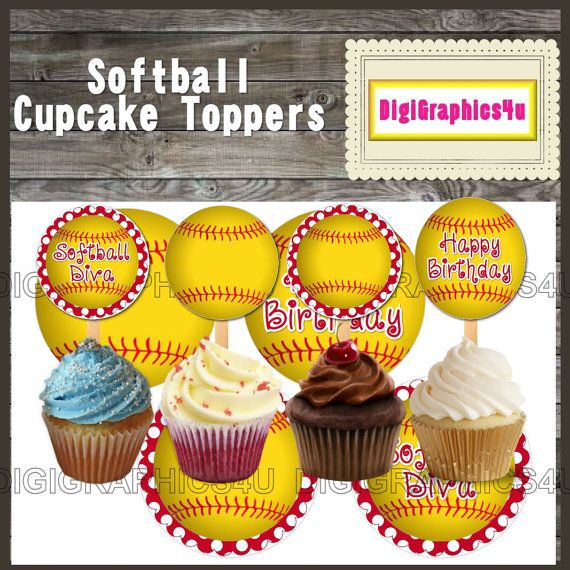 Printable Happy Birthday Softball 2 inch Cupcake Toppers, Jewelry, Keychains and more!