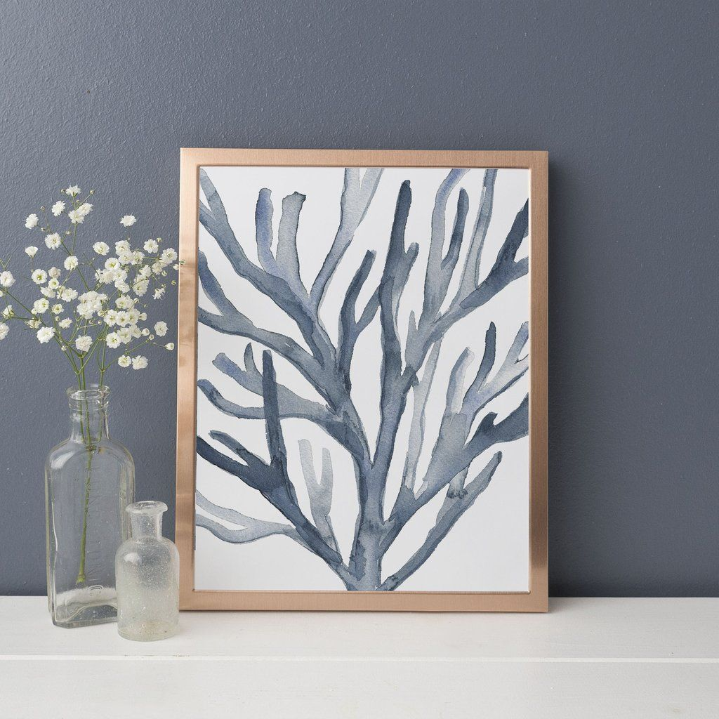 Hamptonus blue coral seaweed art print coastal living pinterest