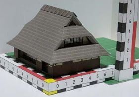 This building is called Kabuto Helmet Roofed House  because it resembles the helmet  used by  Japanese Samurais . This model is in a scale...