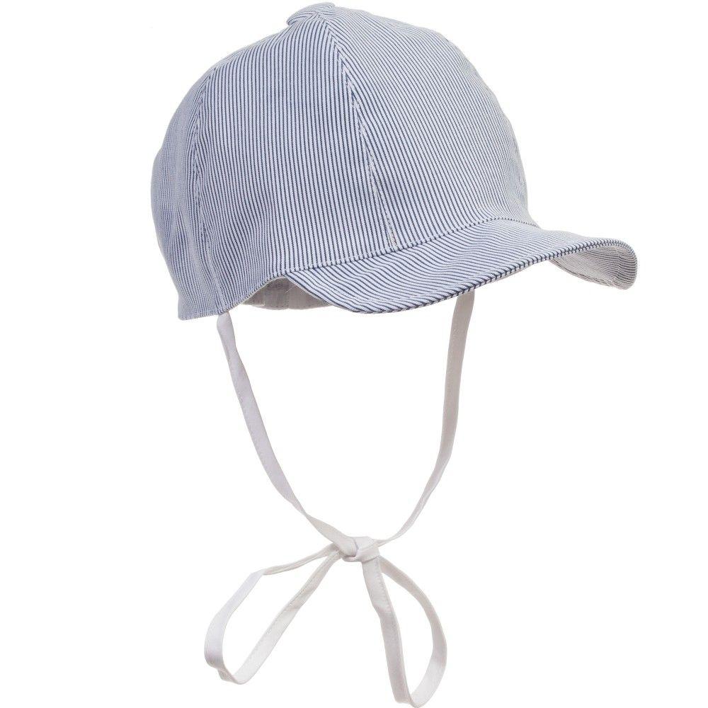 ALETTA Boys Blue Striped Cotton Cap