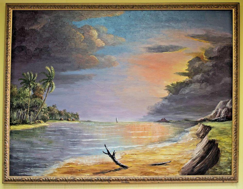 Luis Van Dercar, The Lagoon,  Original Florida oil painting circa 1965 #Occult