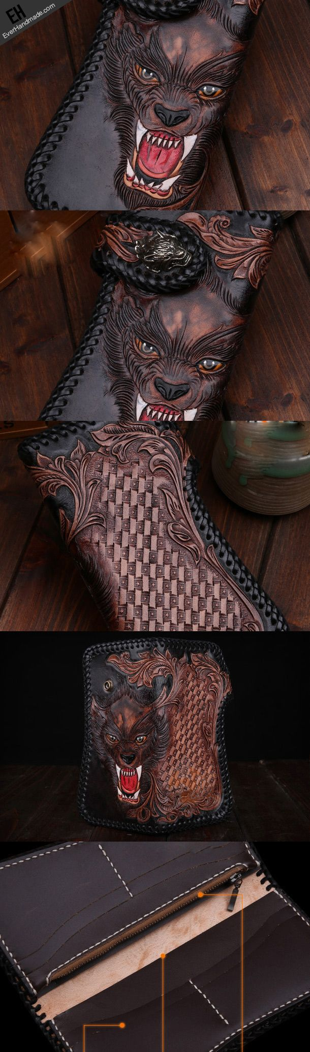 Handmade leather biker trucker wolf wallet leather chain men Black Carved Tooled wallet