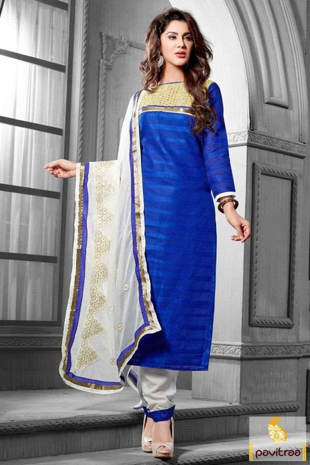 A royal blue off white jacquard embroidery suit with