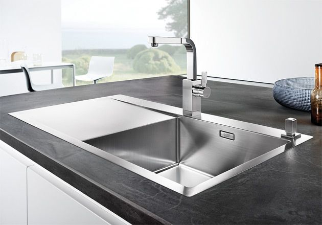 blanco flow xl 6 s if stainless steel kitchen sink right hand bowl rh pinterest com contemporary kitchen sink faucets contemporary kitchen sink faucets