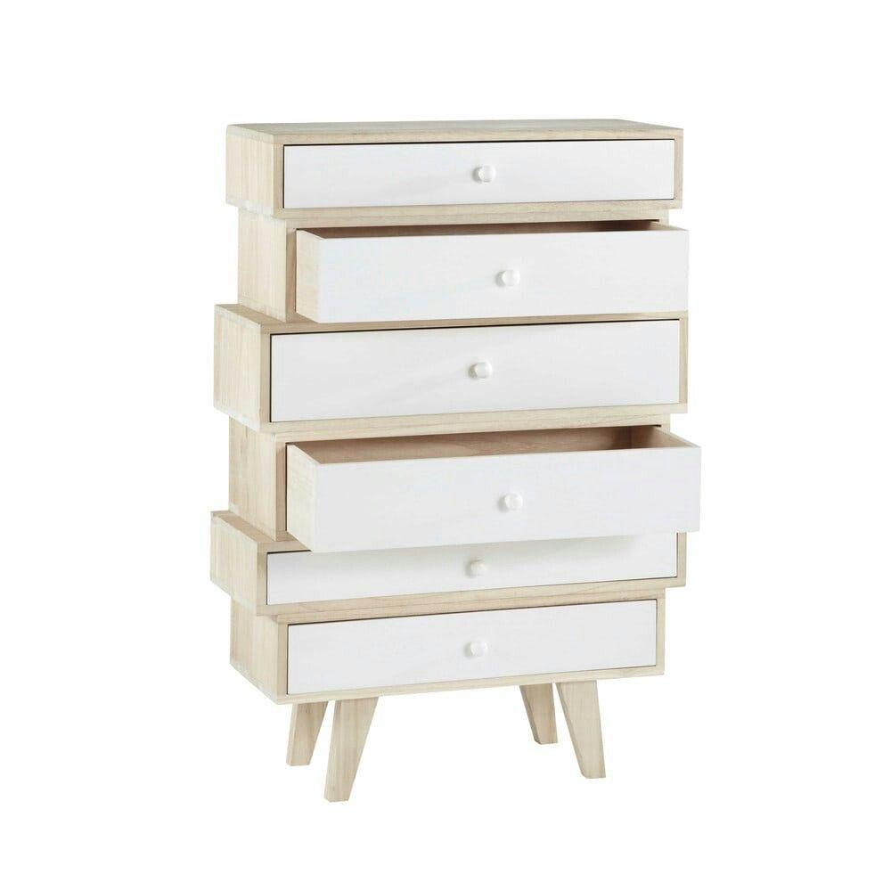 maison du monde paulownia wood vintage semainier chest with semainier ikea. Black Bedroom Furniture Sets. Home Design Ideas