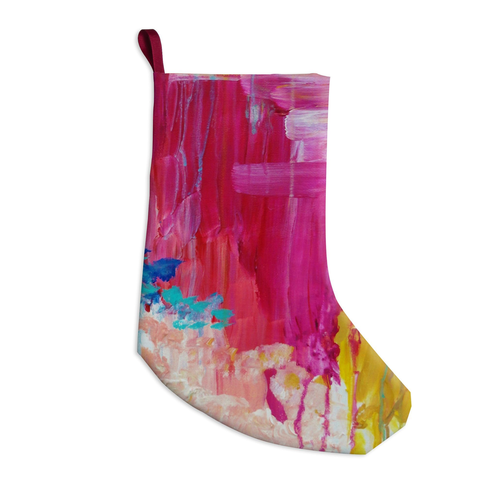 """Ebi Emporium """"Elated"""" Multicolor Paint Christmas Stocking"""