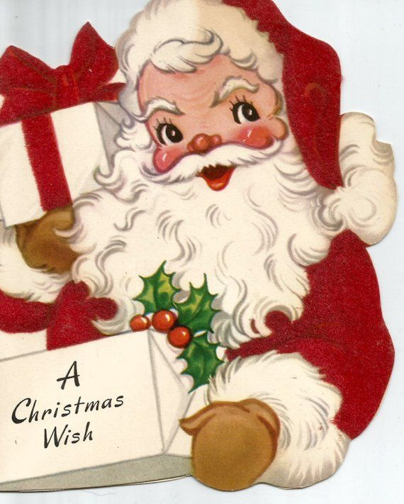 Vintage Retro Christmas Card Santa Claus Digital Download Etsy Vintage Christmas Cards Retro Christmas Cards Retro Christmas