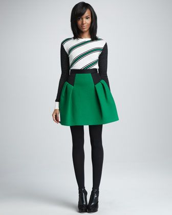 Dakota Dot-Stripe Sweater & Raquelle Flared Skirt by Milly <3