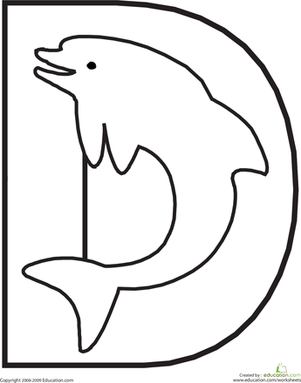 This Fun Alphabet Coloring Page Will Have Your Child A Diving Dolphin While Learning The Shape And Sound Of Letter D