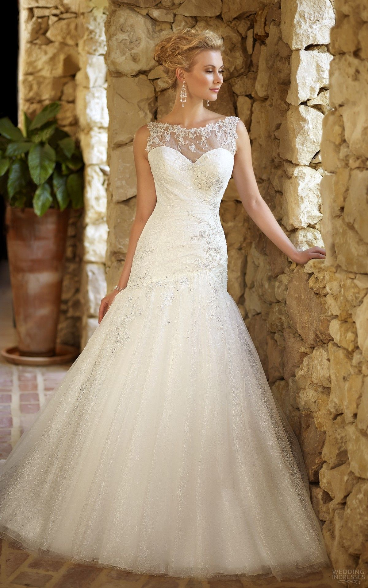 Jenn Bova Fit And Flair Wedding Dress With Illusion Neckline Flare Beaded Lace Tull Skirt