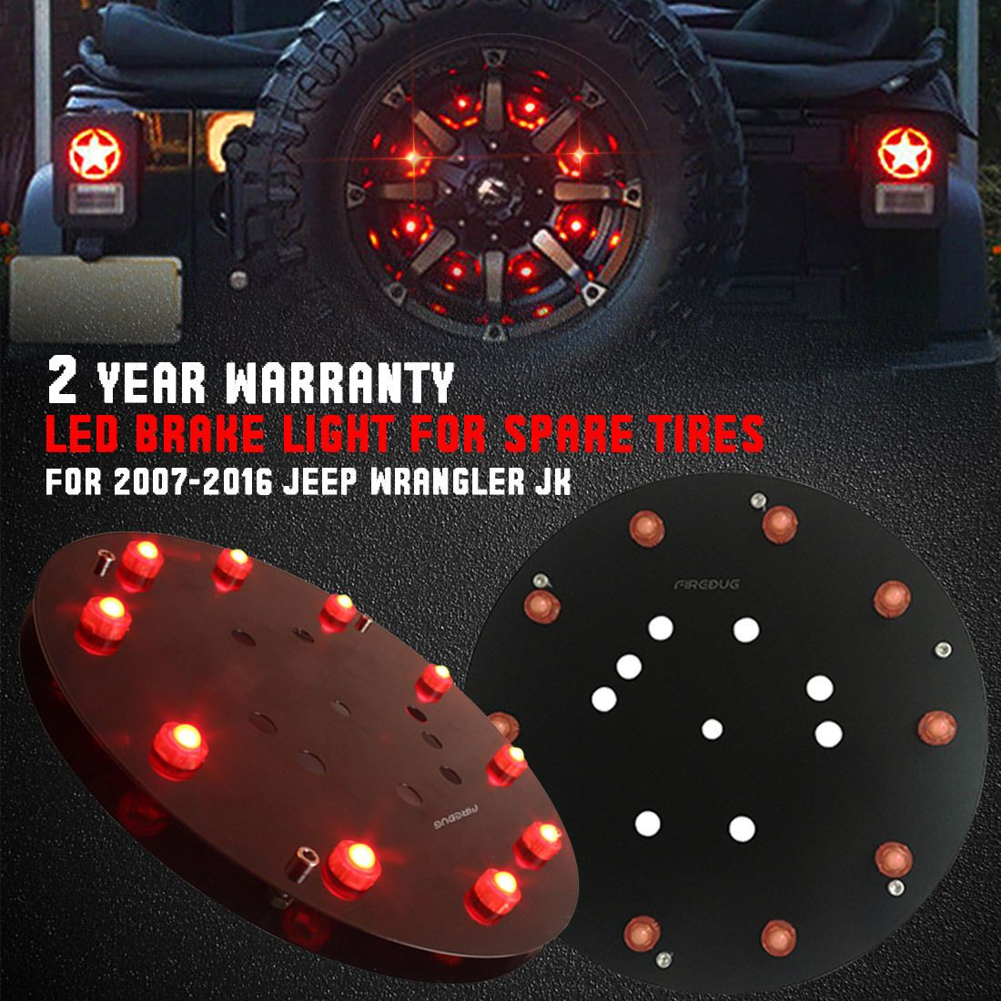 Jeep Wrangler Third Brake Light,Spare Tire LED Tail Light