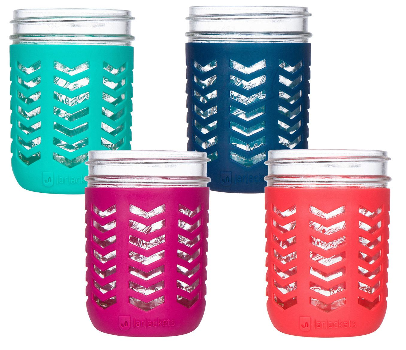 Package Of 4 Silicone Mason Jar Sleeves Fits 16oz 1 Pint