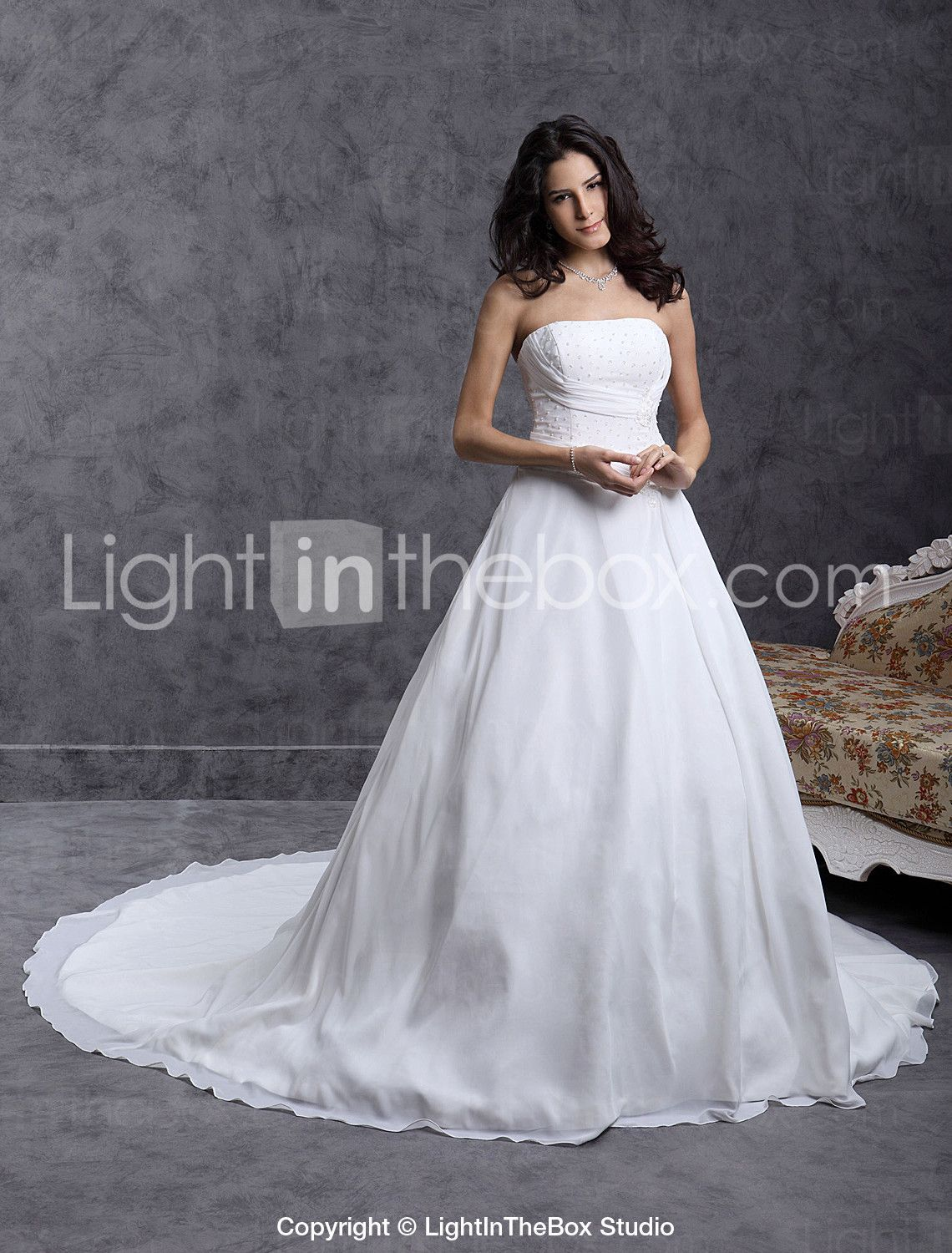 [179.99] Ball Gown Strapless Cathedral Train Chiffon Made