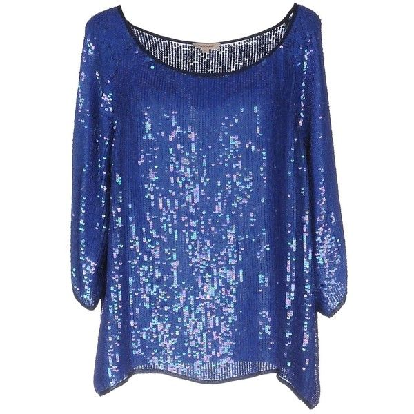 P.a.r.o.s.h. Blouse (880 AED) ❤ liked on Polyvore featuring tops, blouses, blue, blue sequin top, sequin embellished top, sequin top, 3/4 length sleeve tops and 3/4 sleeve blouse