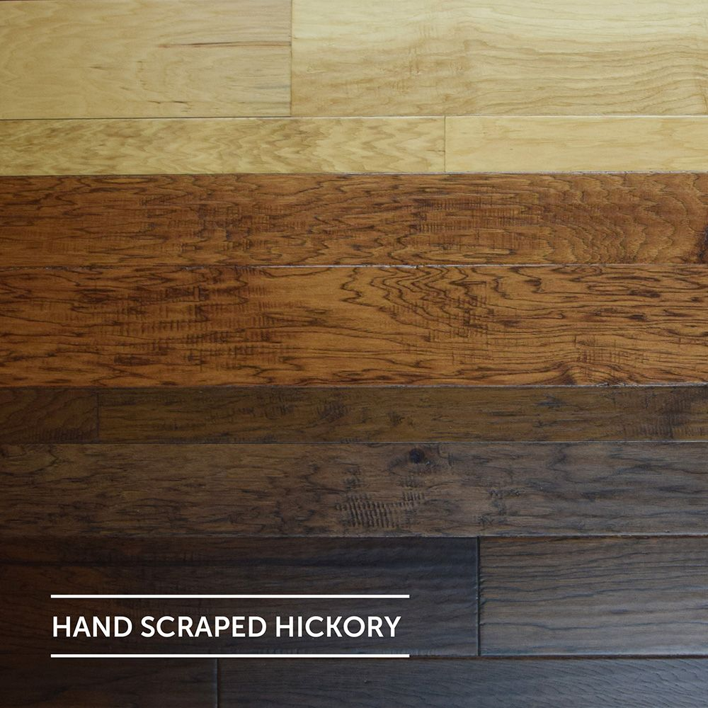 Mixed Width Hand Scraped Hickory Flooring | Light Hardwood ...
