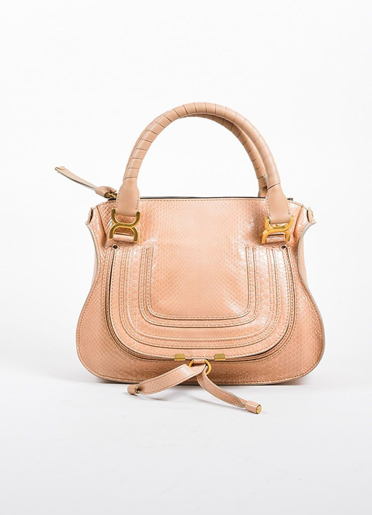 """Blush Pink and Gold Toned Chloe Glossy Python """"Small Marcie"""" Satchel Bag"""